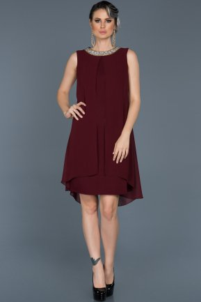 Short Plum Evening Dress ABK031