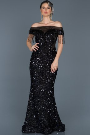 Long Navy Blue Mermaid Evening Dress ABU497