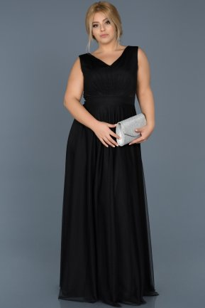 Long Black Plus Size Evening Dress ABU056