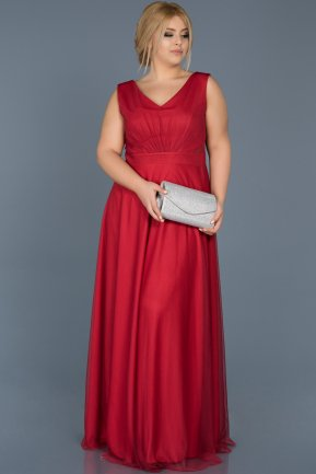 Long Red Plus Size Evening Dress ABU056