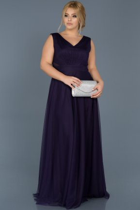 Long Dark Purple Plus Size Evening Dress ABU056