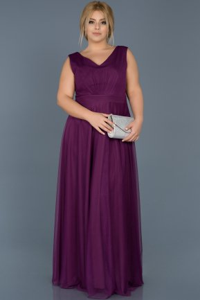 Long Purple Plus Size Evening Dress ABU056