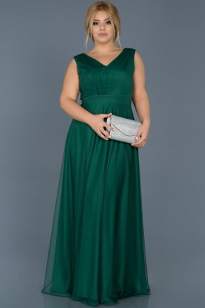 Long Emerald Green Plus Size Evening Dress ABU056