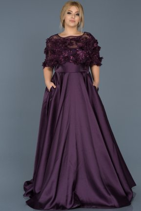 Long Purple Plus Size Evening Dress ABU115