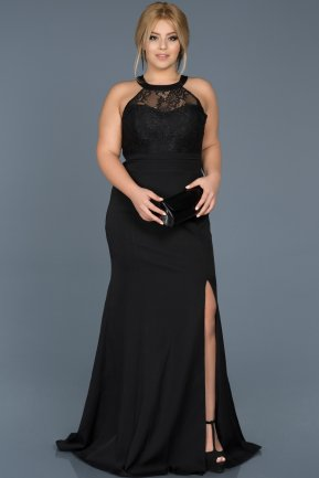 Long Black Plus Size Evening Dress ABU473