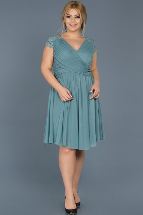 Short Turquoise Oversized Evening Dress ABK306