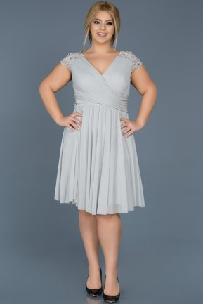Short Grey Oversized Evening Dress ABK306