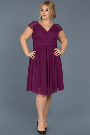 Short Plum Oversized Evening Dress ABK306