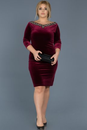 Short Burgundy Oversized Evening Dress ABK284