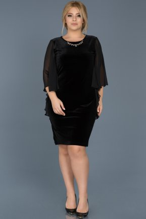 Short Black Plus Size Evening Dress ABK304