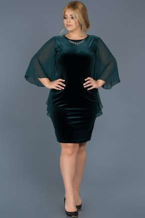Short Emerald Green Plus Size Evening Dress ABK304