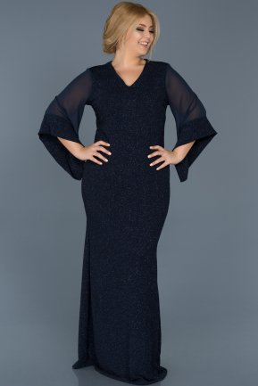 Long Navy Blue Plus Size Evening Dress ABU539