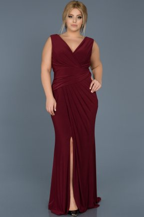Long Burgundy Plus Size Evening Dress ABU532