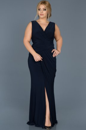 Long Navy Blue Plus Size Evening Dress ABU532