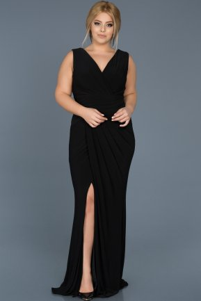 Long Black Plus Size Evening Dress ABU532