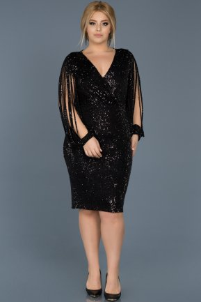 Short Black Plus Size Evening Dress ABK305