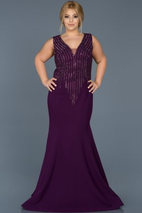 Long Purple Oversized Mermaid Evening Dress ABU536