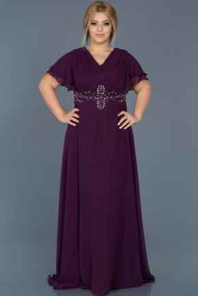 Long Purple Plus Size Evening Dress ABU535