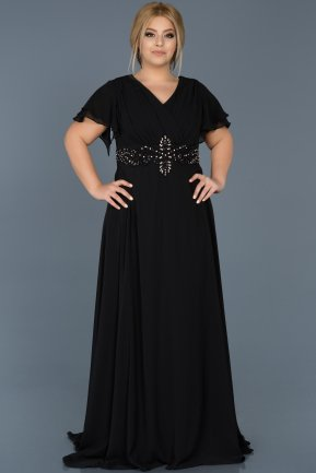 Long Black Plus Size Evening Dress ABU535