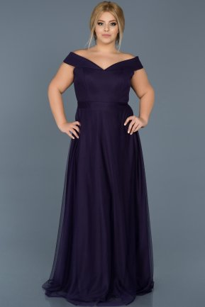 Long Dark Purple Oversized Evening Dress ABU020