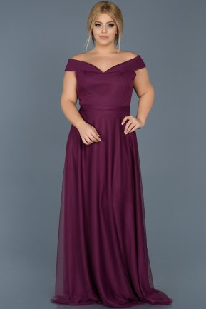 Long Plum Oversized Evening Dress ABU020
