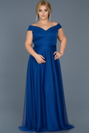 Long Sax Blue Oversized Evening Dress ABU020