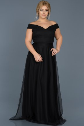 Long Black Oversized Evening Dress ABU020