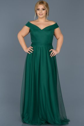 Long Emerald Green Oversized Evening Dress ABU020