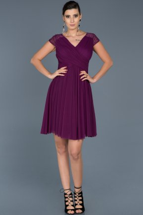 Short Purple Invitation Dress ABK361