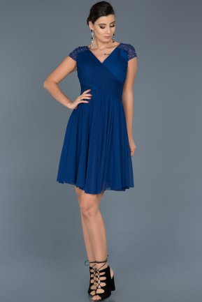 Short Sax Blue Invitation Dress ABK361