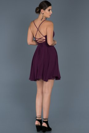 Short Violet Prom Gown ABK001