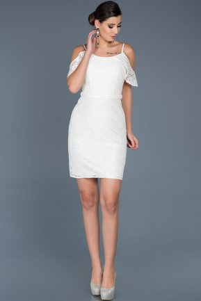 Short White Invitation Dress ABK322