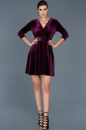 Short Purple Invitation Dress ABK295