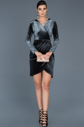 Short Anthracite Invitation Dress ABK320
