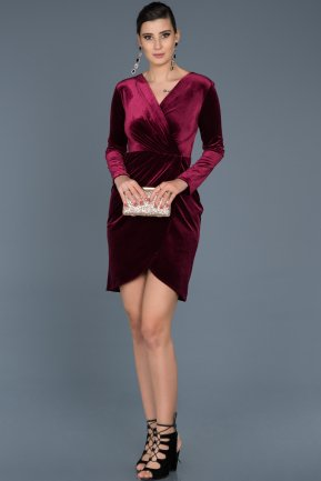 Short Burgundy Invitation Dress ABK320
