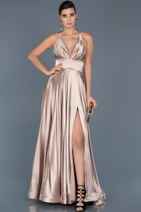 Long Beige Satin Engagement Dress ABU543