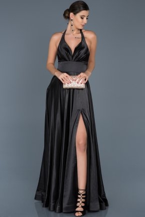 Long Black Satin Engagement Dress ABU543