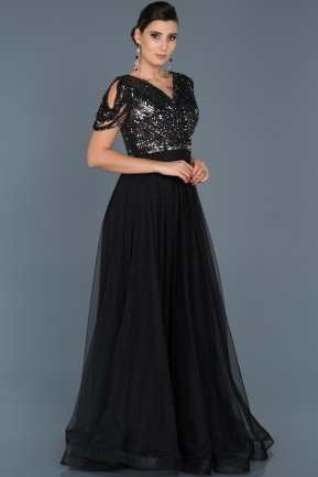 Long Anthracite Engagement Dress ABU553