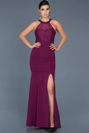 Long Plum Mermaid Prom Dress ABU473