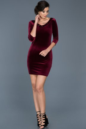Short Burgundy Invitation Dress ABK341