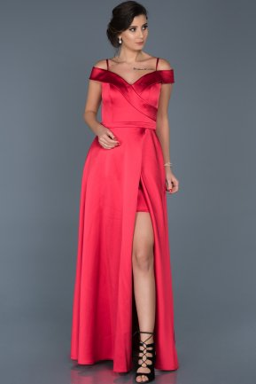 Long Red Engagement Dress ABU560