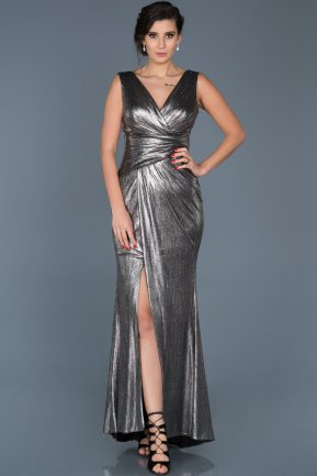 Long Anthracite Engagement Dress ABU562