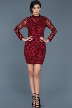 Short Burgundy Invitation Dress ABK348