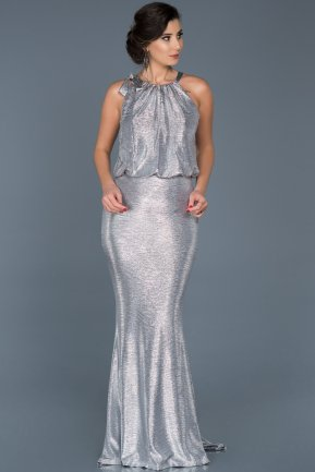 Long Silver Evening Dress ABU531