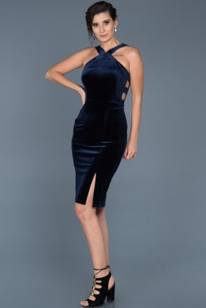 Short Navy Blue Velvet Evening Dress ABK261