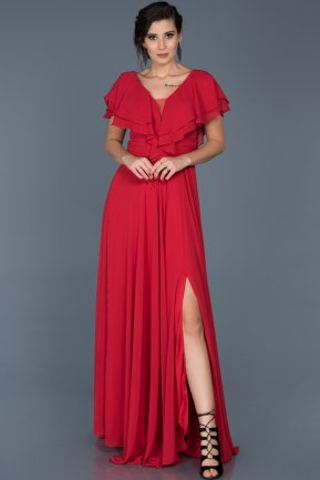 Long Red Engagement Dress ABU032