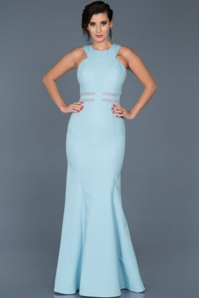 Long Ice Blue Evening Dress ABU047