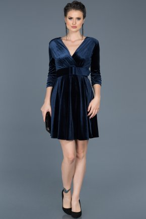 Short Navy Blue Invitation Dress ABK295