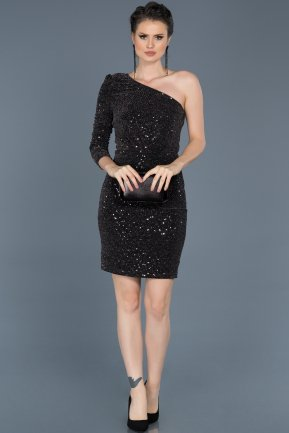 Short Black-Silver Invitation Dress ABK358