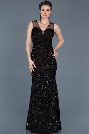 Long Black Mermaid Prom Dress ABU579